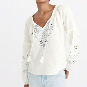 Abercrombie Embroidered Peasant Top